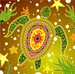 greenish turtle mosaic